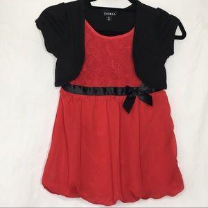 George Girls Red rose Black Dress Size 7/8